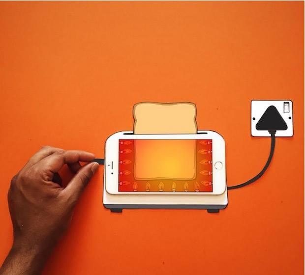 Bu teknikle oluşturulan çalışmalarda kağıt bir sınır değil ve illüstrasyonun tamamlayıcı çerçevesi bir iPhone ekranı.