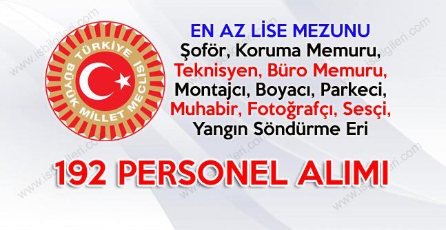 Türkiye Büyük Millet Meclisi 29 Farklı Pozisyona Lise Mezunu Personel Alıyor