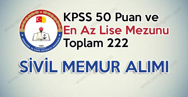Jandarma ve Sahil Güvenlik KPSS 50 puan ile lise mezunu Sivil Memur Alımı ilanı yayınladı