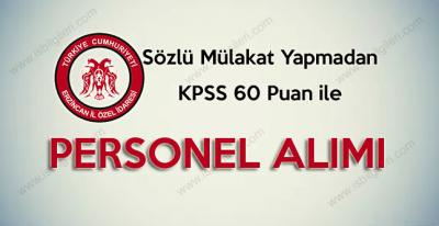 Erzincan İl Özel İdaresi KPSS 60 puan ile Mühendis Mimar Alımı